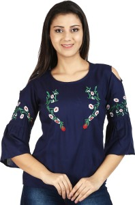 clothvilla Casual 3/4th Sleeve Embroidered Women's Dark Blue Top