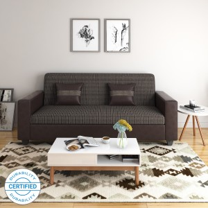 Flipkart Perfect Homes Crete Leatherette and Fabric 3 Seater  Sofa