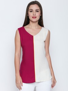 Oomph! Party Sleeveless Color Blocked Women's White, Pink Top