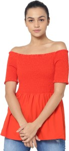 Only Casual Half Sleeve Solid Women's Red Top