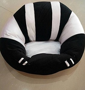 jassi toys Baby Soft Plush Sofa Chair Medium,Training Seat Baby Safety for 1-3 Year Baby (Black :White)  - 15 cm