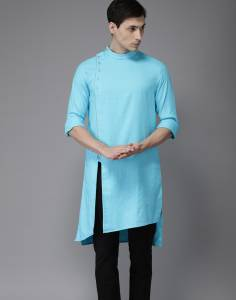 Freehand Men's Solid Trail Cut Kurta