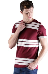 WROGN Striped Men Round Neck Maroon, White T-Shirt