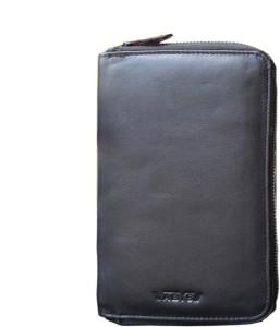ABYS Genuine Leather Black Travel Organizer||Passport Holder||Debit Card Holder