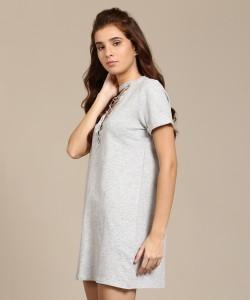 b0e797e3daf Forever 21 Women s Shift Grey Dress Best Price in India