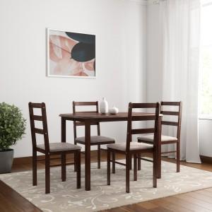Woodness Solid Wood 4 Seater Dining Set Finish Color   Wenge