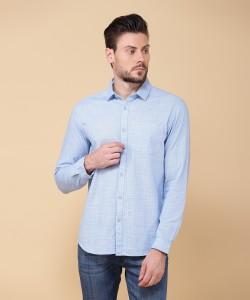 Arrow Men's Checkered Formal Light Blue Shirt