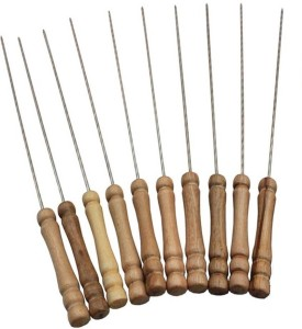 Inditradition Barbecue Skewers Stick for BBQ Tandoor & Grill, Wooden, Steel Roast Fork Set