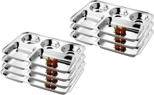 LiMETRO Stainless Steel Rectangular Five Compartment Bhojan / Lunch / Dinner Plate Set