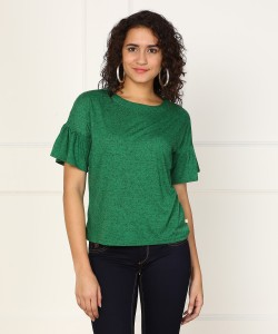 United Colors of Benetton Casual Bell Sleeve Self Design Women's Green Top