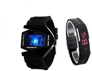perfectretail new generation senior kids digital combo watch multi light triangle shape nice looking Watch  - For Men