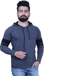 KAY S APPARELS Solid Men's Hooded Grey T-Shirt