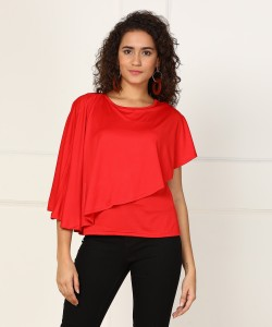 AND Casual Half Sleeve Solid Women's Red Top