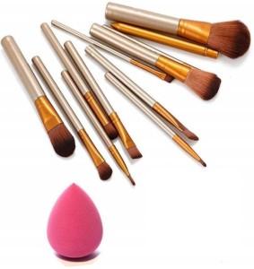 skinplus makeup brushes kit with sponge puff