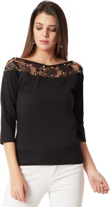 Miss Chase Party 3/4th Sleeve Solid Women's Black Top