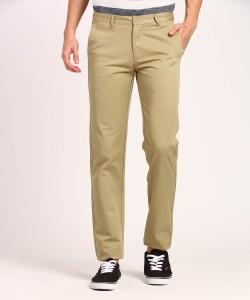 Metronaut Regular Fit Men's Cotton Beige Trousers