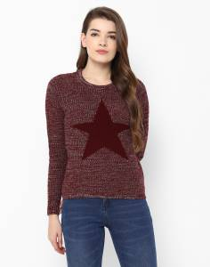 Provogue Solid Round Neck Casual Women's Maroon Sweater