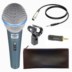 BalRama Beta-58A Dynamic Vocal Karaoke Microphone with 3.5MM Connector 58A Pofessional Singing Mic Studio Voice Recording Mixer Karaoke Mikrofon Microphone Clip + Black Zipper Pouch + 3.5mm Connector Wire Jack Microphone