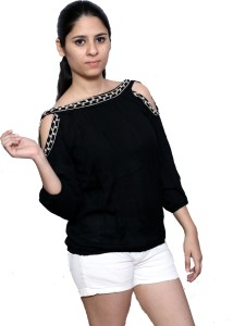 Fashion Village1 Casual Cold Shoulder Embroidered Women's Black Top