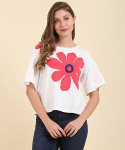 United Colors of Benetton Casual Half Sleeve Printed Women's Red, White Top