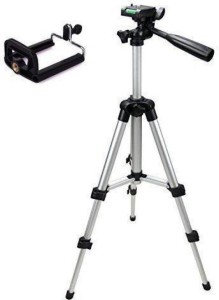 Tygot 3 Way Head Tripod 3110 Tripod Kit With Mobile Clip Holder, Fully Flexible Mount Cum Tripod Kit (Silver, Supports Up to 1800) Tripod Kit, Tripod, Tripod Ball Head