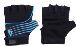 Dee Mannequin Exercise Weight Lifting Hand Protector Padded Gym & Fitness Gloves (Free Size, Blue)