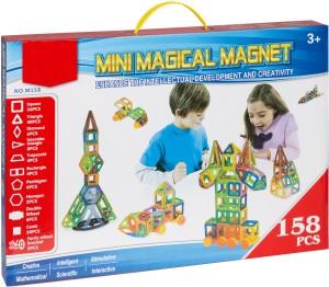 IndusBay DIY 3D Magical Magnet Construction Building Block Learning & Creativity Colorful Magnetic Blocks Puzzle Set - 158 Pcs