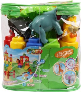 nvcollections 19 Piece Educational & Learning Jungle Animal Blocks Game