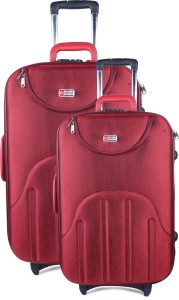 QT Sizzling Red luggage Set Of 2 (20 -24 ) Expandable  Cabin Luggage - 20 inch