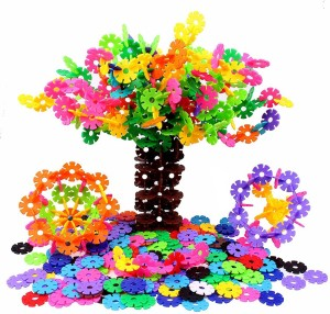 Sanyal Mini Bricks Blocks Toys for Kids Children Colorful Plastic Educational Small Snowflake Building Block Models - ( Multicolor )