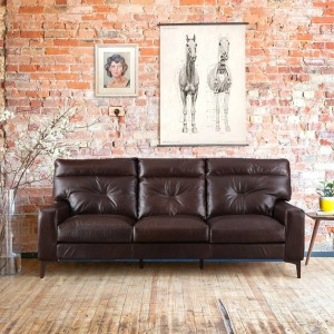 HomeTown Leather 3 Seater  Sofa