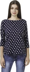 WISER Casual 3/4th Sleeve Printed Women's Black Top