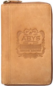 ABYS Durga Puja Special -Genuine Leather Tan Passport Holder||Mobile Cover||Travel Wallet with Metallic Zip Closure
