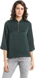 Vero Moda Casual 3/4th Sleeve Solid Women's Green Top