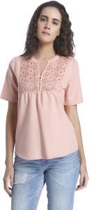 Vero Moda Casual Short Sleeve Solid Women's Pink Top