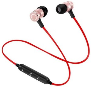 mobicell Stereo Speaker Bluetooth Earphone Magnetic Wireless Headphones Bluetooth Headphone Red, In the Ear