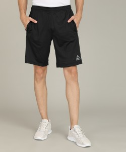 REEBOK Self Design Men Black Sports Shorts