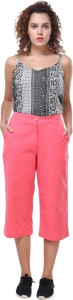 Crease & Clips Regular Fit Women's Pink Trousers