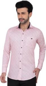 meraki Men Printed Casual Pink Shirt