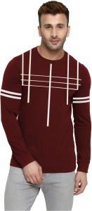 THE ARCHER Striped Men Round Neck Maroon T-Shirt