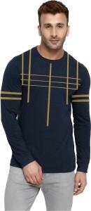 THE ARCHER Striped Men Round Neck Dark Blue T-Shirt