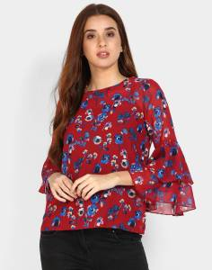 Ann Springs Casual 3/4th Sleeve Floral Print Women's Multicolor Top