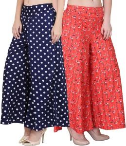 Phashion Town Flared Women Dark Blue, Orange Trousers
