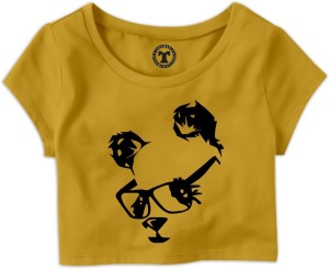 Tees World Casual Short Sleeve Graphic Print Women's Yellow Top