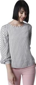 Vero Moda Casual 3/4th Sleeve Striped Women's White, Black Top