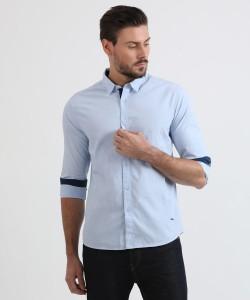 Metronaut Men's Solid Casual Light Blue Shirt