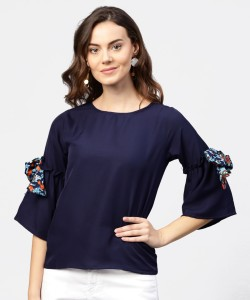 Aasi - House of Nayo Casual Flared Sleeve Solid Women's Dark Blue Top