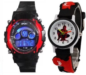 7a0af49b6405 blutech good gift combo for kids redsports 7 light and black spiderman Watch  - For Boys
