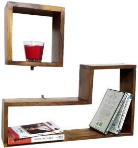 MartCrown Office decor rack shelf Wooden Wall Shelf
