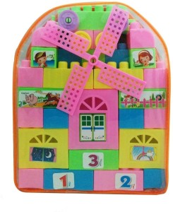 Akshit 58 Pieces Block Set - Train, House, Bed, Counting Blocks etc